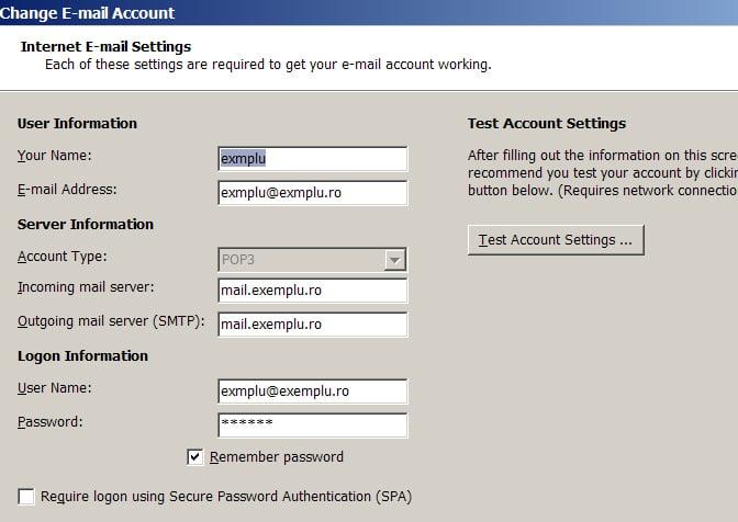 Migrarea contului de Microsoft Outlook